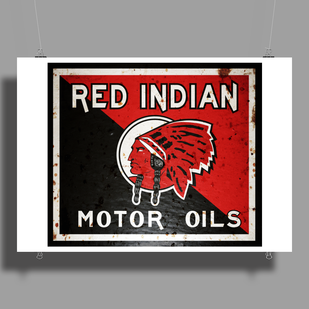 Red Indian Gasoline vintage sign. Rust version. Poster Print (Landscape)