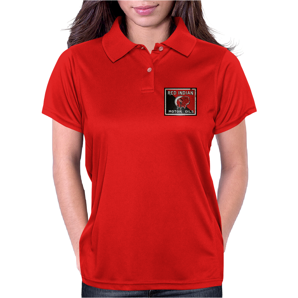 Red Indian Gasoline vintage sign. Rust version. Womens Polo