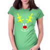 Reindeer Face Novelty Christmas Womens Fitted T-Shirt