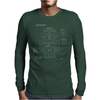 Retro Robot Blueprint Mens Long Sleeve T-Shirt