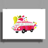 Retro van with colorful splashes Poster Print (Landscape)