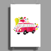 Retro van with colorful splashes Poster Print (Portrait)