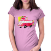 Retro van with colorful splashes Womens Fitted T-Shirt