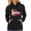Retro van with colorful splashes Womens Hoodie