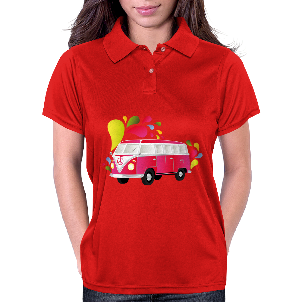 Retro van with colorful splashes Womens Polo