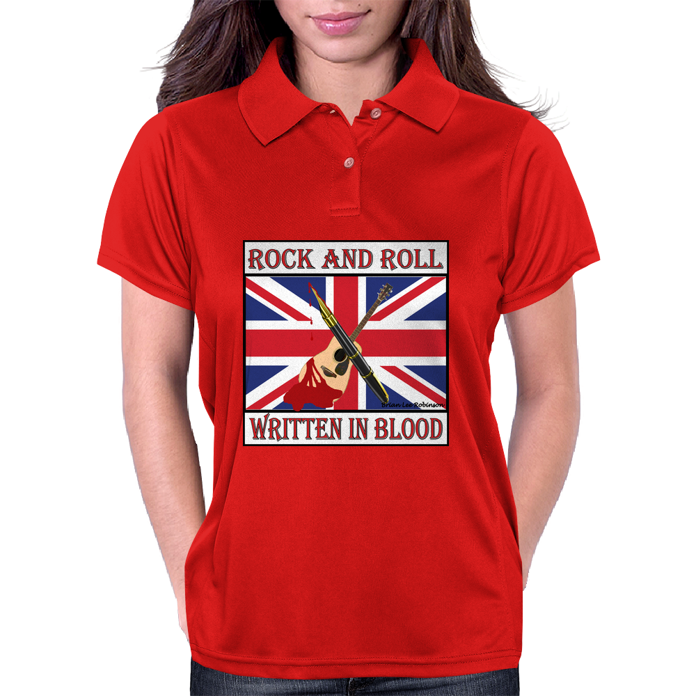 Rock and Roll- Written In Blood Womens Polo