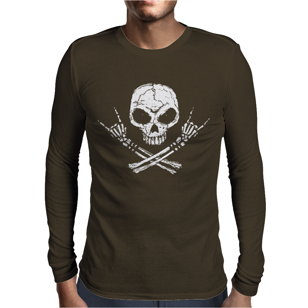 Rock Skull Mens Long Sleeve T-Shirt