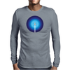 Rocket ship flies past the Blue Planet Mens Long Sleeve T-Shirt