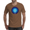 Rocket ship flies past the Blue Planet Mens T-Shirt