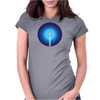 Rocket ship flies past the Blue Planet Womens Fitted T-Shirt