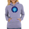 Rocket ship flies past the Blue Planet Womens Hoodie