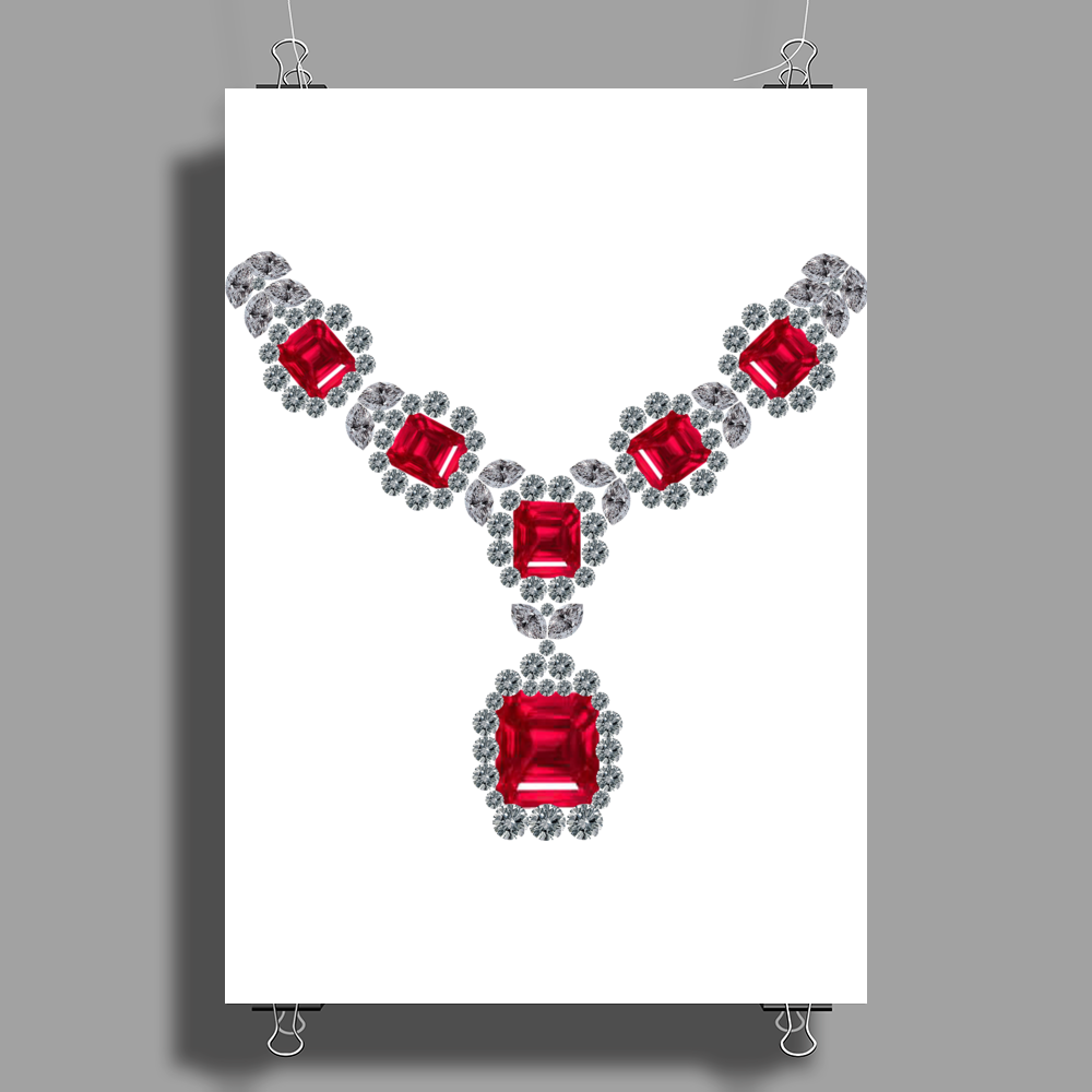 Ruby and Diamond Necklace Poster Print (Portrait)