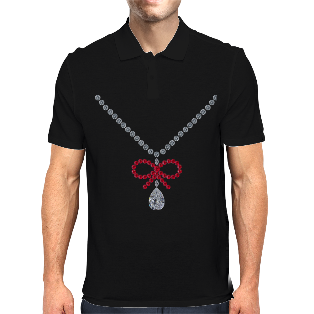 Ruby bow and diamonds necklace Mens Polo