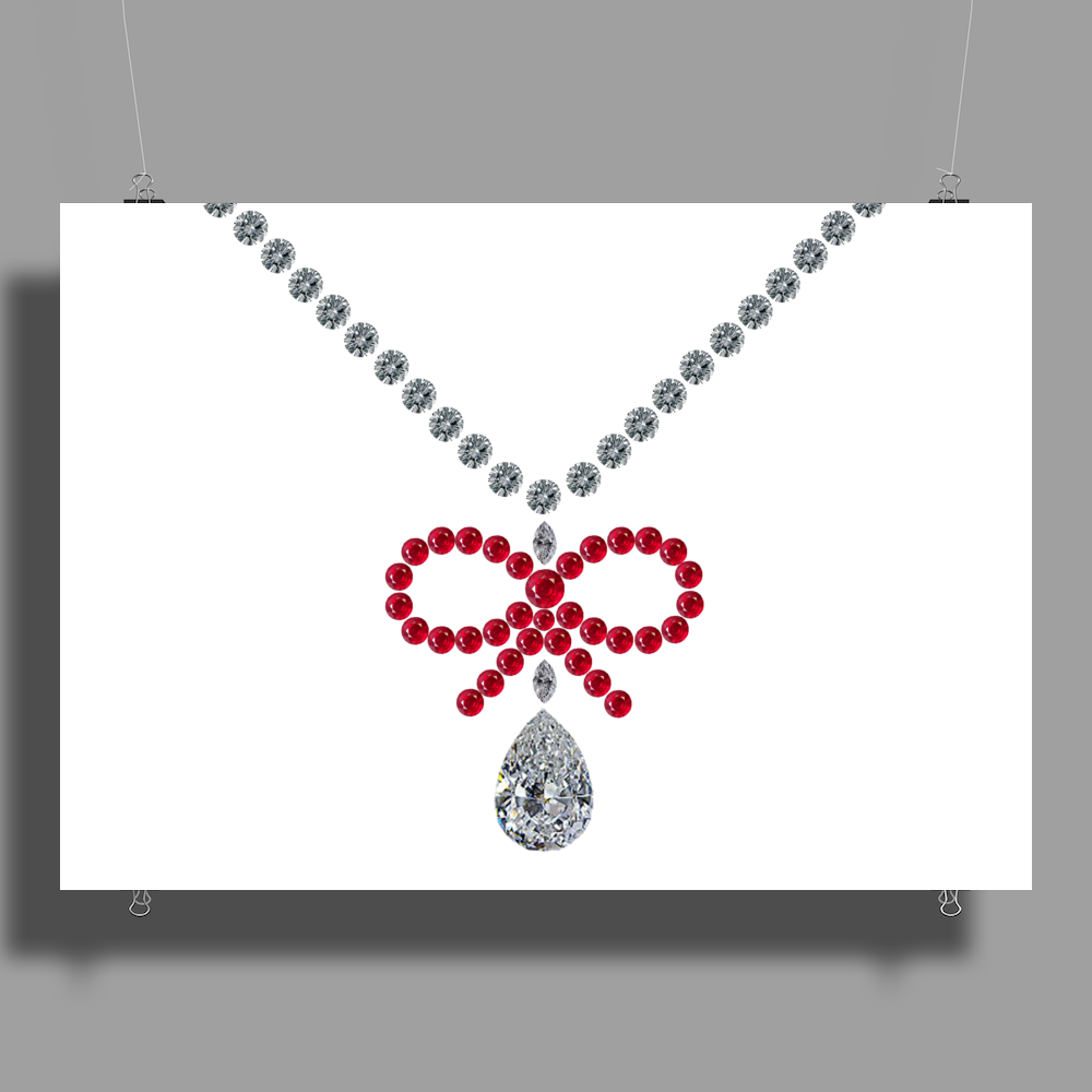 Ruby bow and diamonds necklace Poster Print (Landscape)
