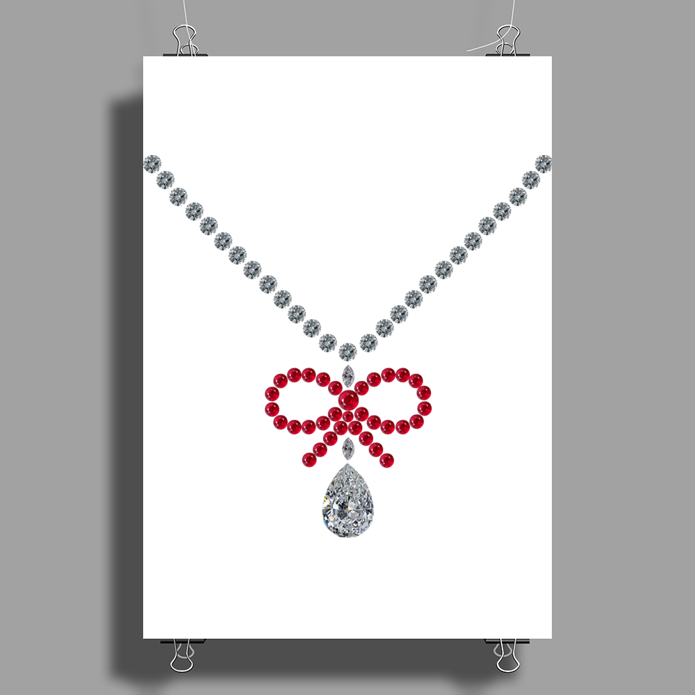 Ruby bow and diamonds necklace Poster Print (Portrait)