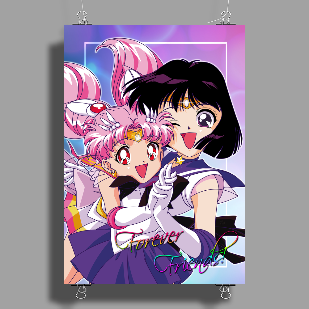 Sailor Chibi Moon and Saturn Poster Print (Portrait)