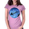 Santa And Reindeer Womens Fitted T-Shirt