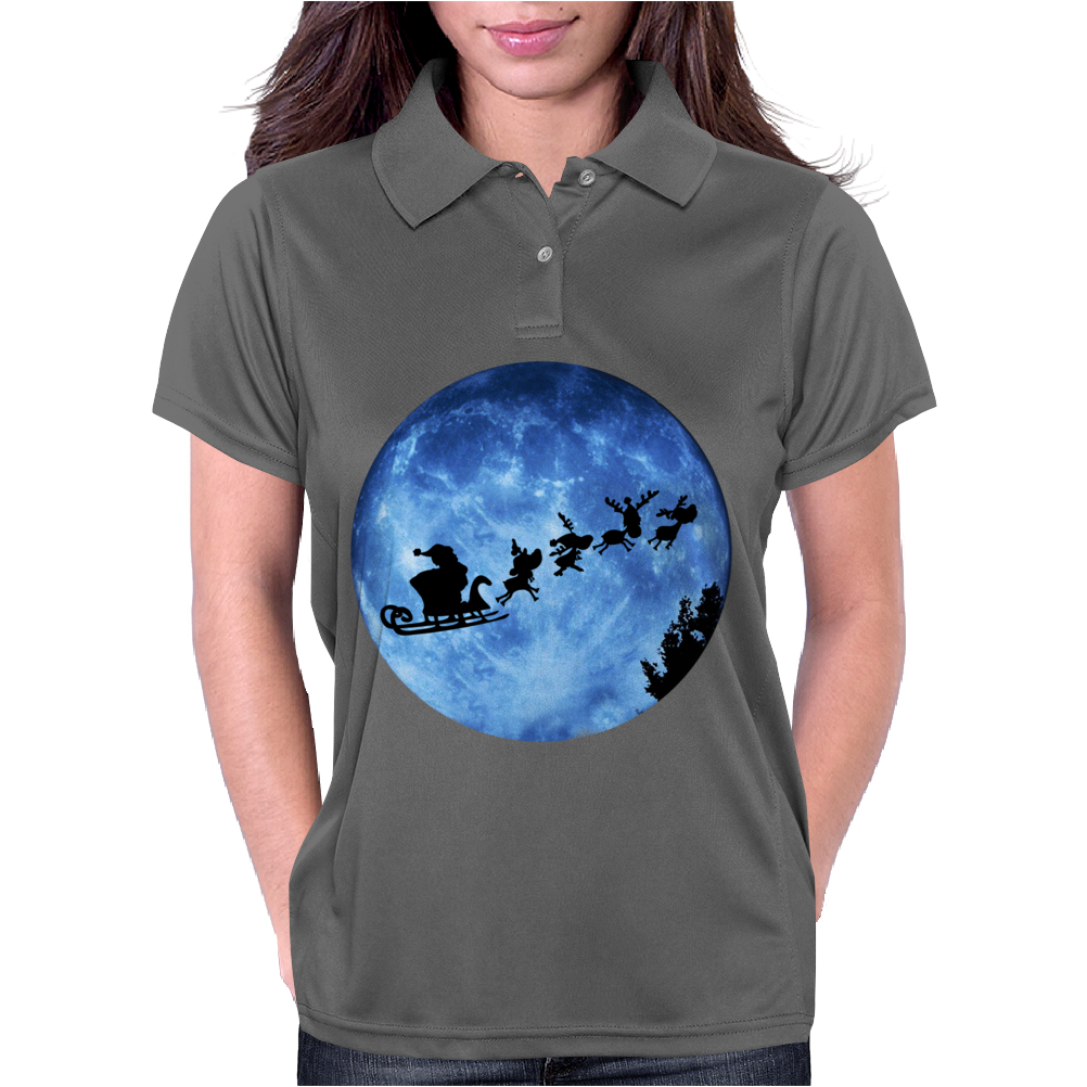 Santa And Reindeer Womens Polo