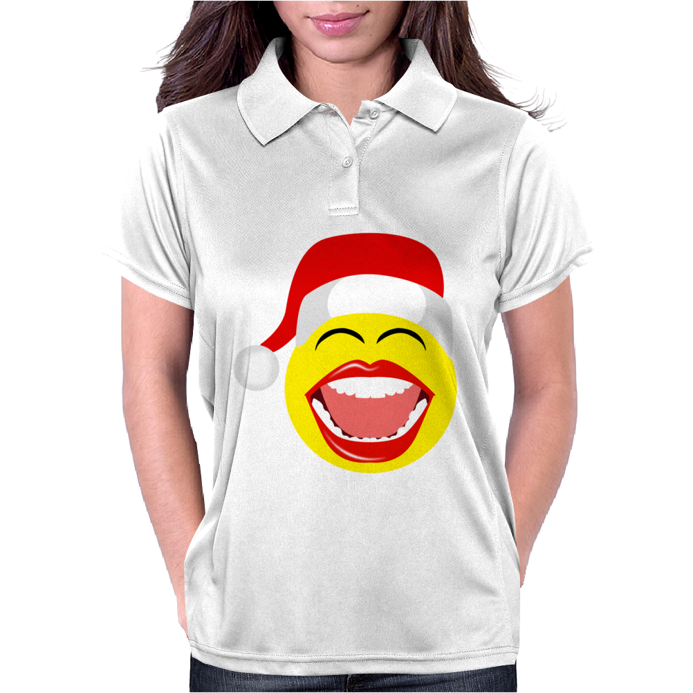Santa Laughing Smiley Womens Polo