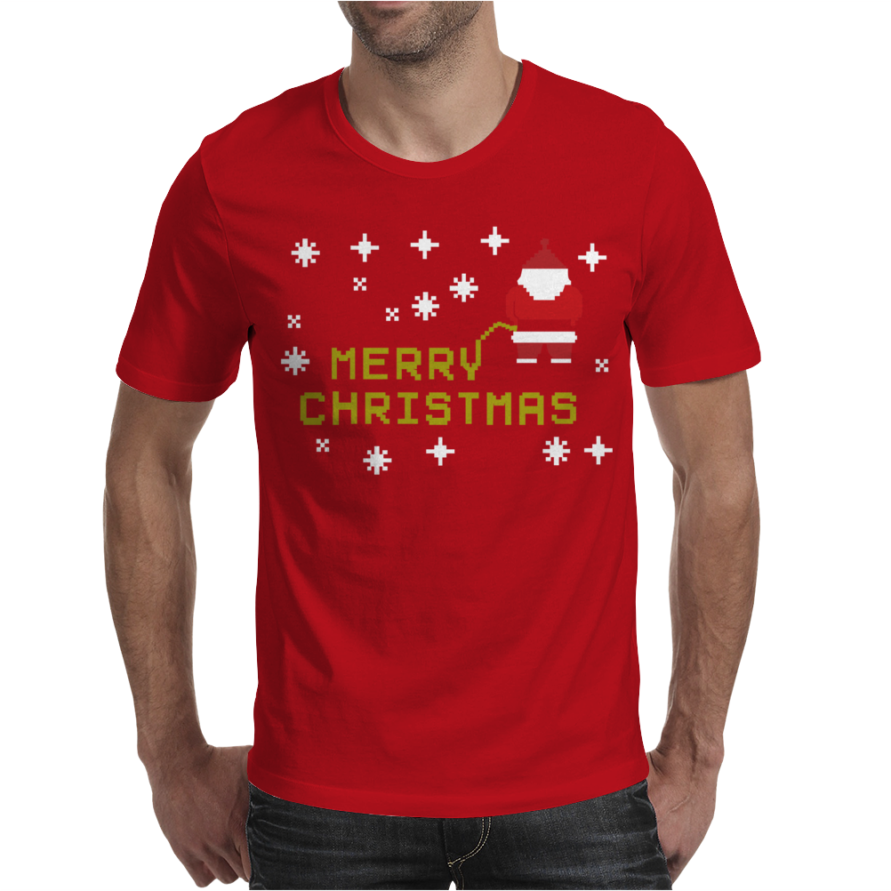 Santa Peeing Merry Christmas Mens T-Shirt