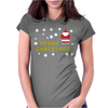 Santa Peeing Merry Christmas Womens Fitted T-Shirt