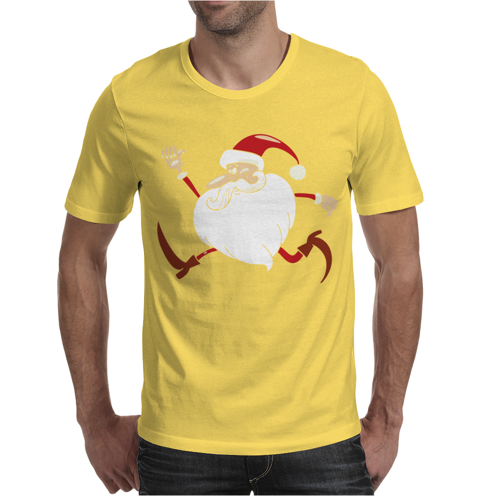 Santa Running For Christmas Mens T-Shirt