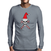 Santa Skull and Candy Cane Crossbones Mens Long Sleeve T-Shirt