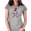 Santa Skull and Candy Cane Crossbones Womens Fitted T-Shirt