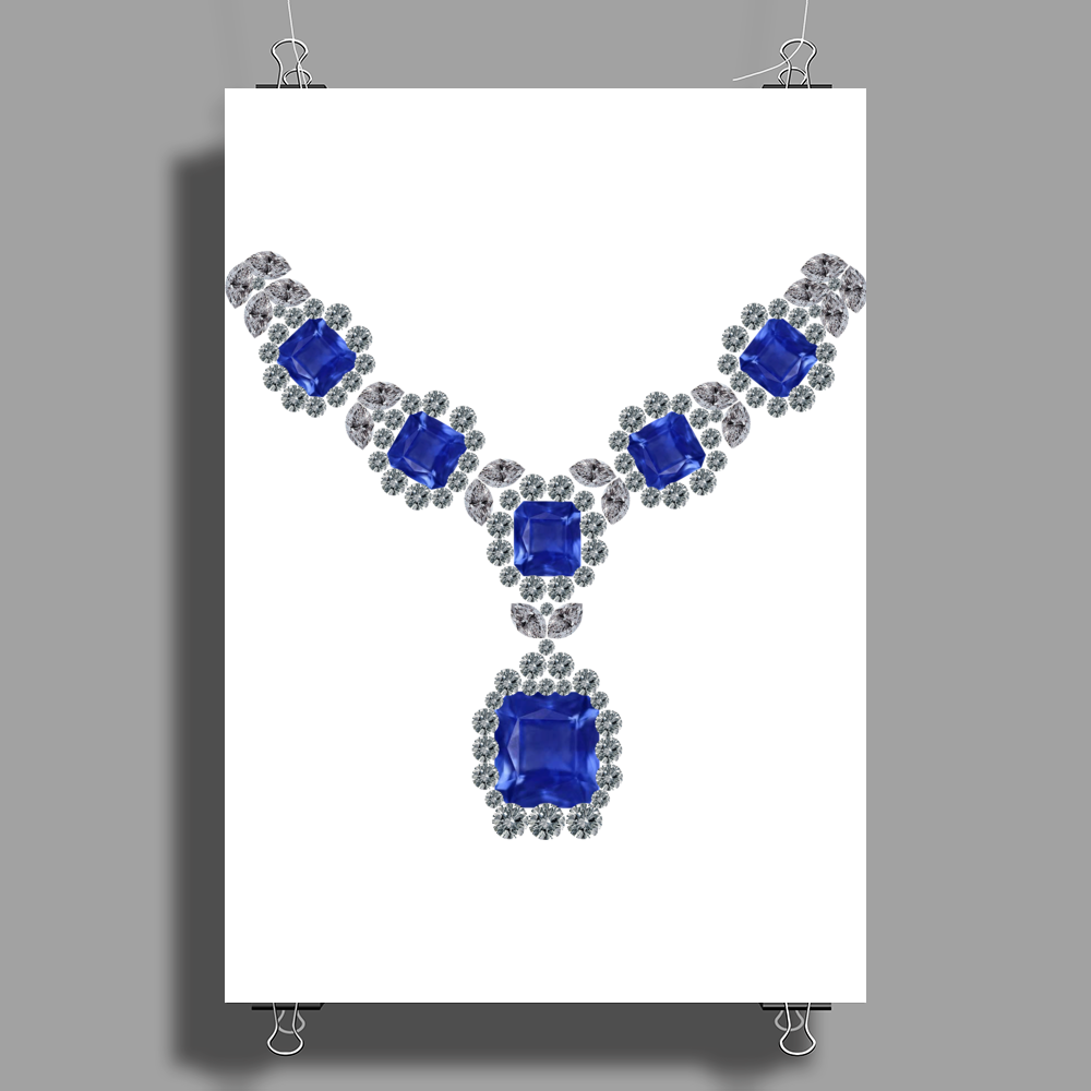 Sapphire and Diamond Necklace Poster Print (Portrait)