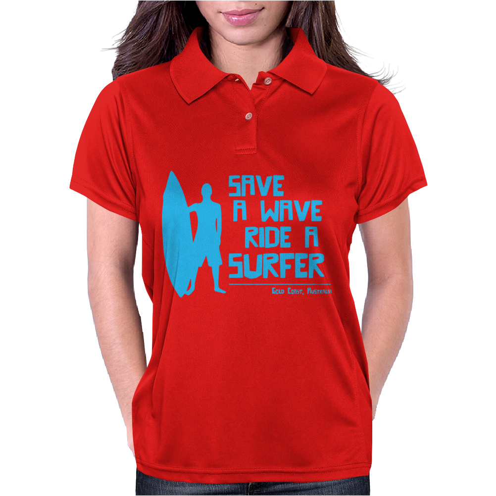 Save A Wave Ride A Surfer Womens Polo