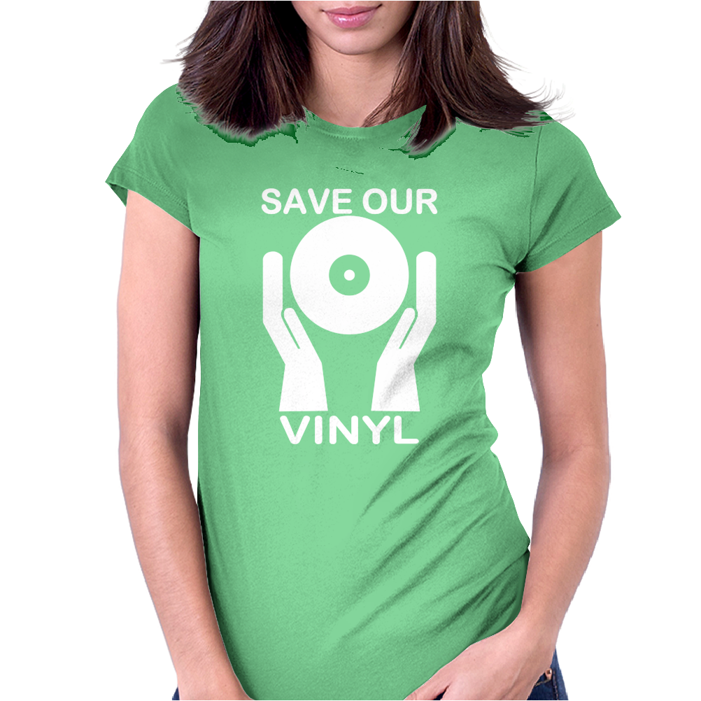 Save Our Vinyl Dj Club Womens Fitted T-Shirt