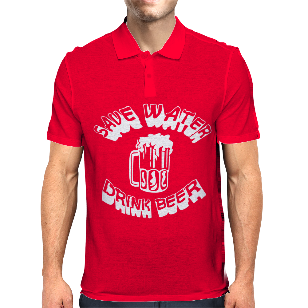Save Water drink Beer FUNNY Mens Polo