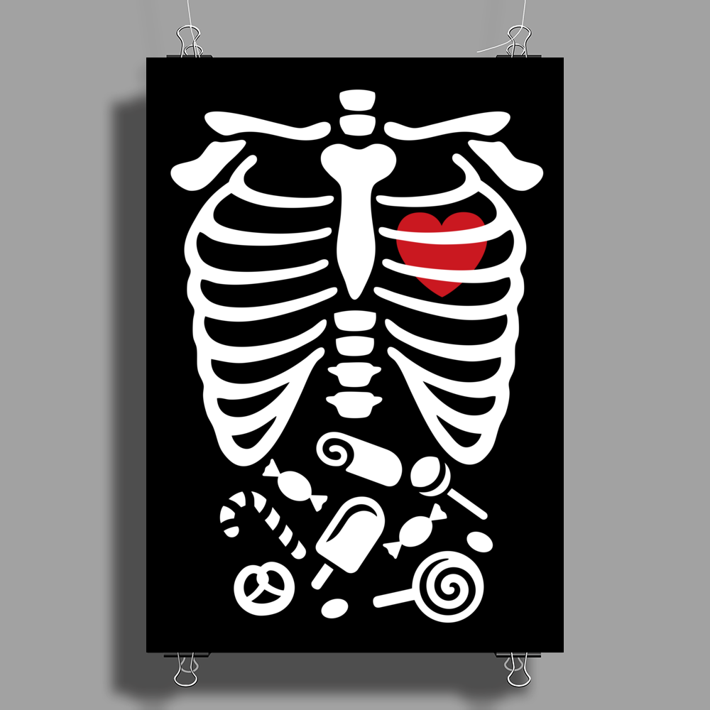 Scary Halloween X-Ray costume candy Poster Print (Portrait)