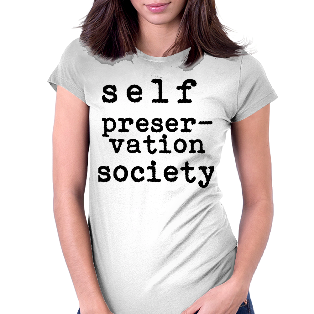 Self Preservation Society Black Womens Fitted T-Shirt