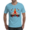 Sexy Santa rides DeLorean! Mens T-Shirt