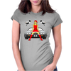 Sexy Santa rides DeLorean! Womens Fitted T-Shirt