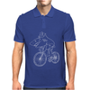 Shark Riding Bicycle Bike Funny Mens Polo