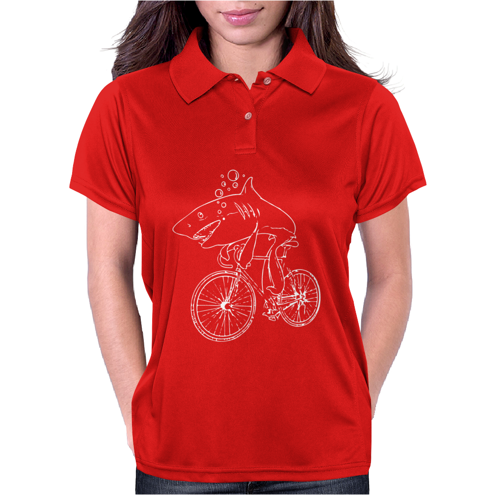 Shark Riding Bicycle Bike Funny Womens Polo