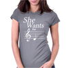 SHE WANTS THE D-BLACK- Womens Fitted T-Shirt
