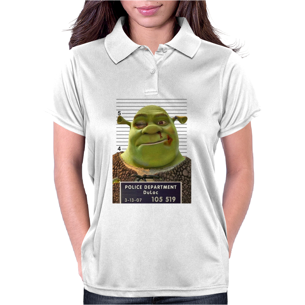Shrek Mug Shot Funny Womens Polo