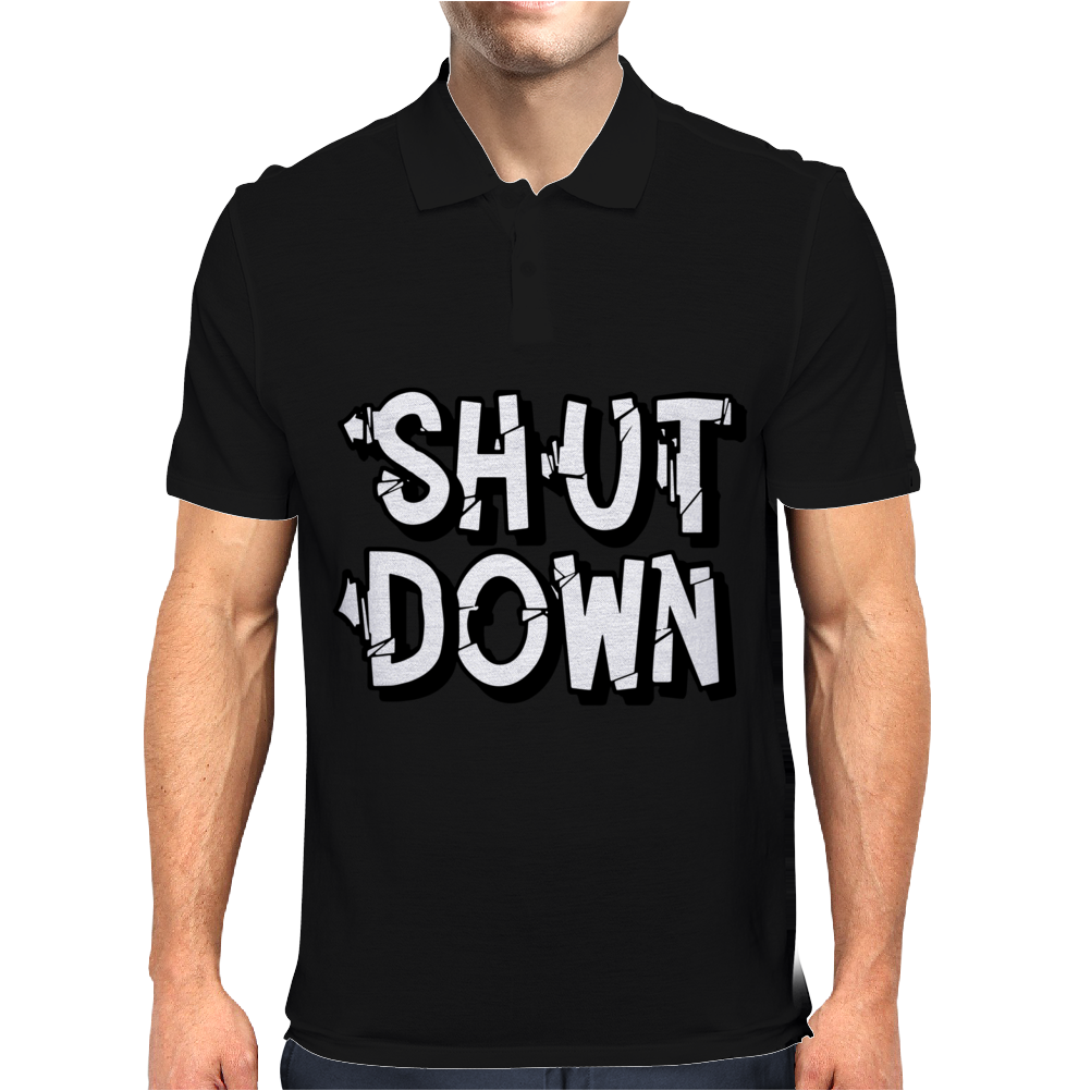Shut Down Slogan Mens Polo