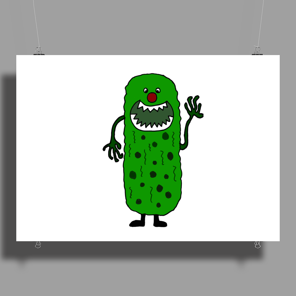 Silly Funny Pickle Tickle Monster Poster Print (Landscape)