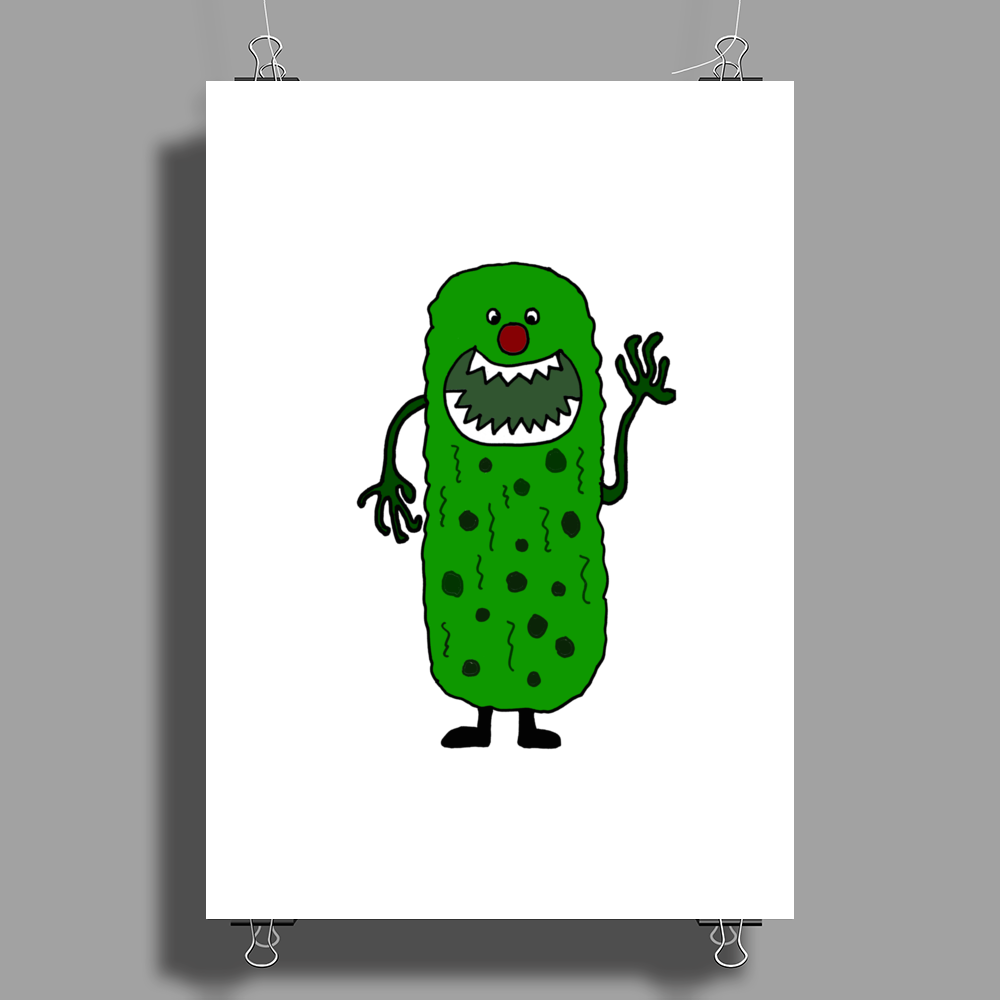 Silly Funny Pickle Tickle Monster Poster Print (Portrait)