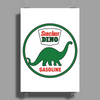 Sinclair Dino Gasoline vintage sign. Flat and clean version. Poster Print (Portrait)