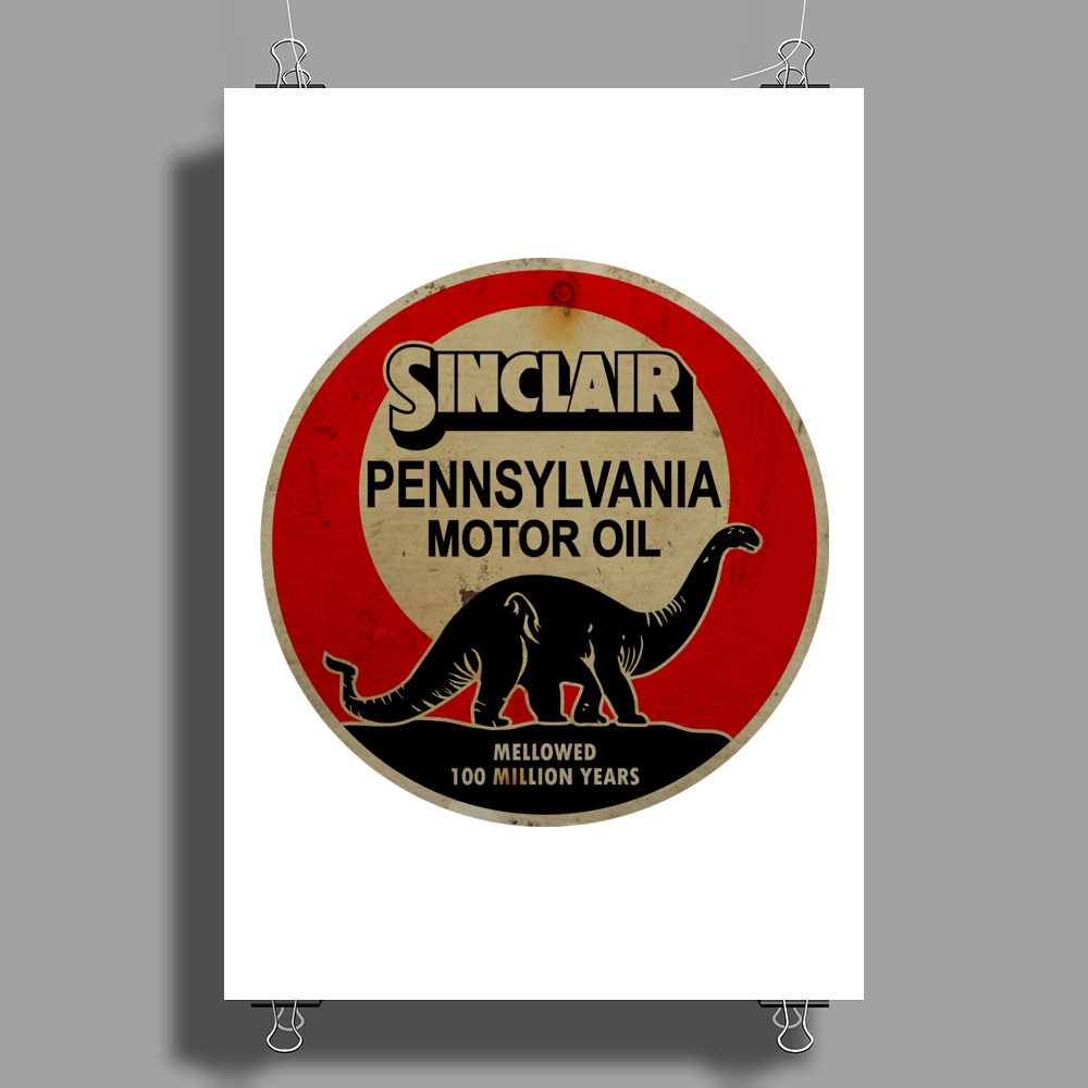 Sinclair Motor Oil distressed version Poster Print (Portrait)