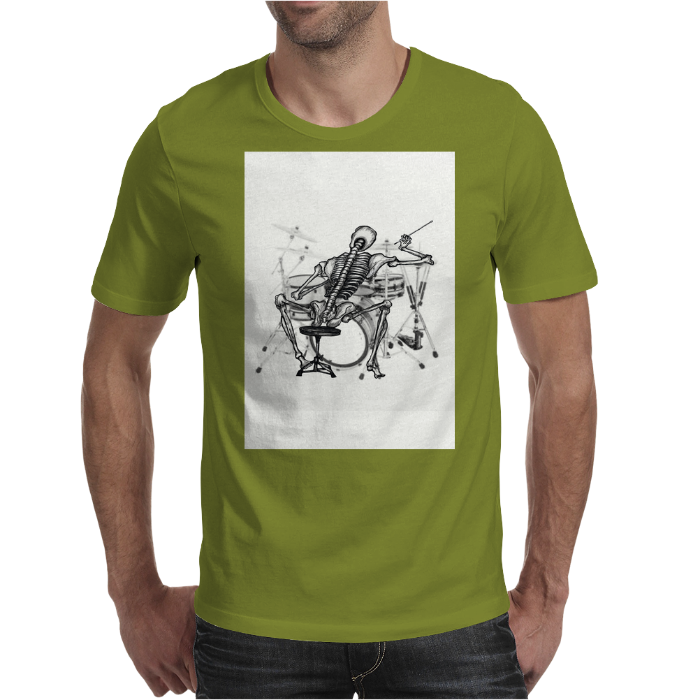 Skeleton Drummer Mens T-Shirt