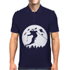 Skiier Moon Moonlight Silhouett Mens Polo