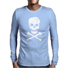Skull and Crossbones Pirate Neon Mens Long Sleeve T-Shirt