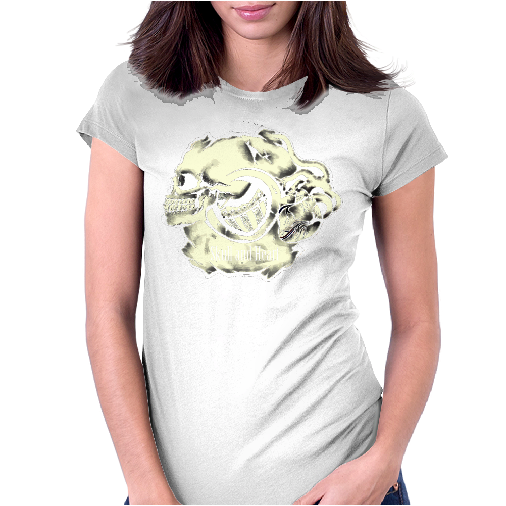 Skull and Heart Womens Fitted T-Shirt