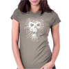 Skull Biker Chopper Skull Goth Emo Metal Punk Spider Web Womens Fitted T-Shirt